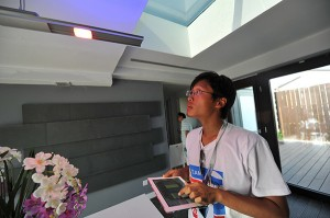 LED light fixture controlled with Illinois-designed automation system. PV skylight above - Guanzin He
