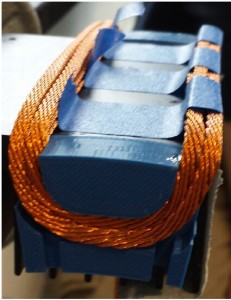 Figure 15: Single-phase armature test winding using a 49-strand Litz wire and a 3-D printed winding frame (shown in blue)