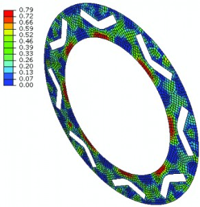 Figure 27: Damage percentage to the cohesive layers simulated in Abaqus