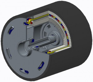Figure 5(a): Section view of the latest motor design as of June 30th, 2015