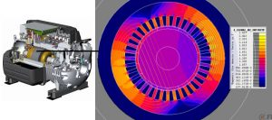 BH Min frictionless compressor and flux finite element analysis model of PMSM